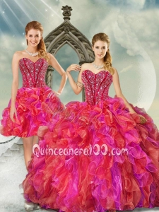 2015 New Arrival Beading and Ruffles Multi-color Quince Dresses with