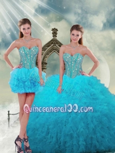 2015 Unique Beading and Ruffles Turquoise Dresses For Quince