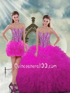 Detachable Quinceanera Dresses with Beading and Ruffles in Fuchsia for 2015 Spring