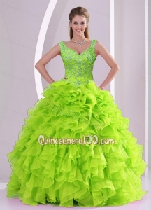 Featured Beading and Ruffles Quince Dresses in Green