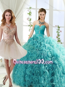 Elegant Big Puffy Rolling Flowers Detachable Quinceanera Gowns with Beading and Appliques