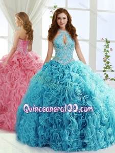 Fashionable Halter Top Detachable Sweet 16 Dresses with Beading and Appliques