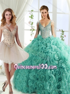 Gorgeous Rolling Flowers Deep V Neck Detachable Quinceanera Dresses with Cap Sleeves
