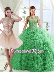 Luxurious See Through Scoop Green Detachable Quinceanera Dresses with Brush Train