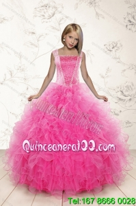 2015 Most Popular Beading and Ruffles Little Girl Pageant Dress in Pink
