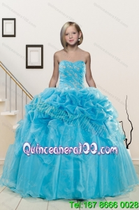Popular Aqua Blue Little Girl Pageant Dress with Appliques and Pick Ups for 2015
