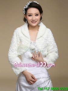 Faux Fur Open Front Modest Wedding Shawl in White