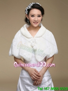 Fold over Collar Special Occasion Rabbit Fur Shawls