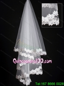 Lace Applique Edge Classical Organza Bridal Veil