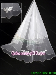 Organza Lace Appliques Bridal Wedding Veil