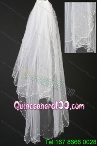 Organza Pearl Trim Edge Wedding Bridal Veil