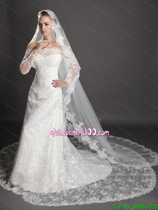 Perfect Lace Appliques Edge Organza Wedding Veil