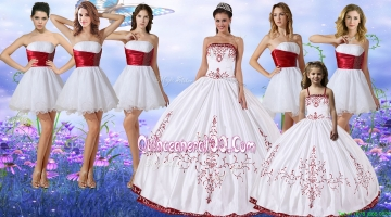Elegant Wine Red and White Quinceanera Dress and Cute Spaghetti Straps Mini Quinceanera Dress and Cheap White Short Dama Dresses with Belt