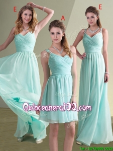 New Style Straps Beaded and Ruched Aqua Blue Dama Dress in Chiffon