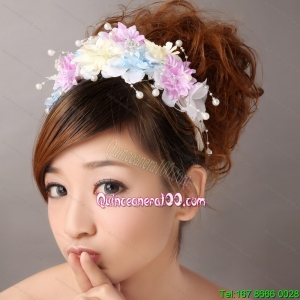 Hand Made Flowers For Muti color Headpiece With Pearl