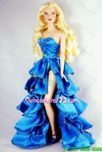 Sweet Party Dress With Ruffles and High Slit For Barbie Doll