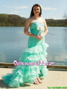 Elegant Brush Train Mermaid Prom Dress with Beading and Ruffled Layers
