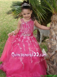 Luxurious Asymmetrica Necklinel Hot Pink Little Girl Pageant Dress with Beading and Appliques