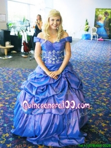 Fashionable V Neck Taffeta Quinceanera Dress with Appliques and Pick Ups