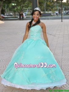 Romantic Strapless Apple Green Quinceanera Dress with Beading and Appliques