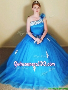 Sophisticated Applique and Hand Made Flowers Quinceanera Dress with One Shoulder