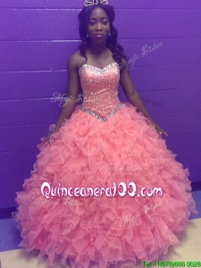 Gorgeous Beaded and Ruffled Quinceanera Dress in Watermelon Red