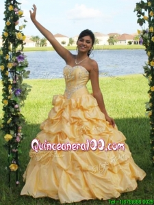 Low Price Yellow Big Puffy Quinceanera Dress with Appliques and Pick Ups