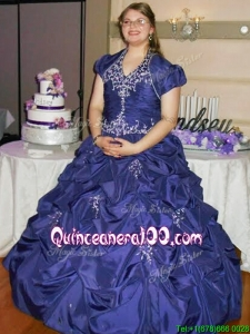 New Arrivals Halter Top Really Puffy Quinceanera Dress with Beading and Pick Ups
