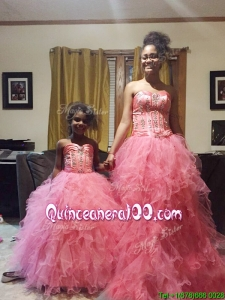 Wonderful Beaded and Ruffled Floor Length Quinceanera Dress in Coral Red