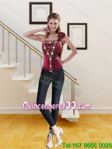 2015 Cute Wine Red One Shoulder Corset with Beading