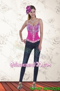 2015 Sweetheart Multi Color Corset with Pick Ups and Embroidery