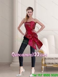 2015 Wine Red Strapless Corset with Hand Made Flower and Ruffles