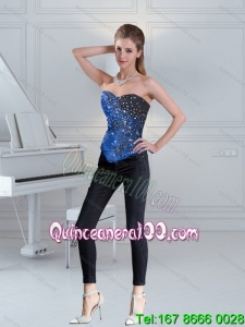 Pretty Blue Sweetheart Beaded Corset with Lace up for 2015