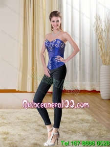 Royal Blue Sweetheart Corset with Ruffled Layers and Beading