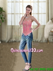 2015 Wonderful Rose Pink Strapless Beaded Corset with Embroidery