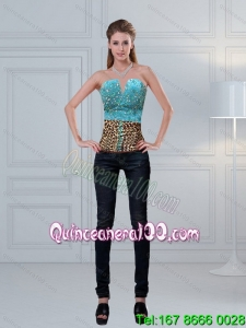 Leopard Printed Baby Blue Beaded Perfect Corset for 2015