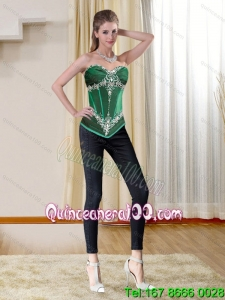 Perfect Dark Green Sweetheart Corset with Beading and Appliques