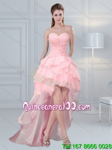 2015 Cute Baby Pink Sweetheart Dama Dresses with Beading and Ruffled Layers