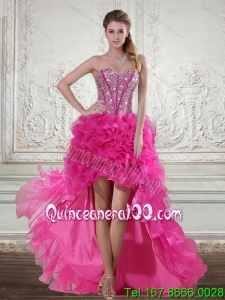 2015 Hot Pink High Low Sweetheart Dama Dresses with Beading and Ruffled Layers