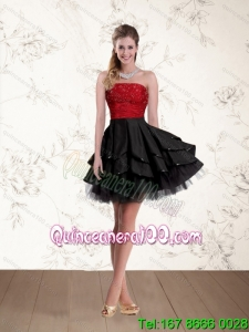 2015 New Style Strapless Beaded Dama Dresses in Red and Black