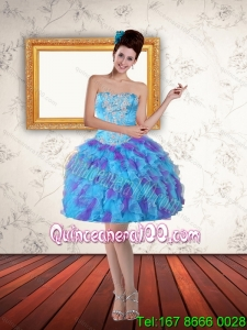 2015 Sweetheart Beading Ruffled Layers Short Dama Dress in Multi Color