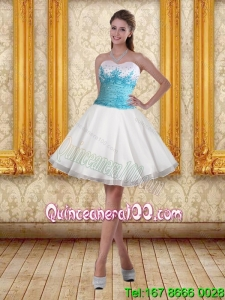 2015 White Sweetheart Dama Dresses with Blue Embroidery