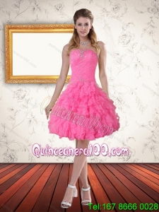 Beautiful Baby Pink Sweetheart Dama Dress with Beading and Ruffled Layers