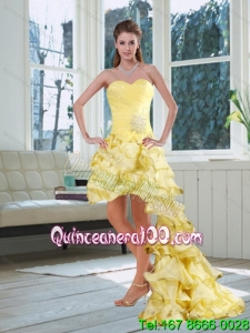 Light Yellow Sweetheart High Low Dama Dresses with Beading and Ruffled Layers for 2015