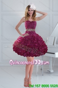 Fashionable Beaded Strapless Ruffled Dama Dresses for 2015
