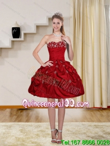 2015 Ball Gown Wine Red Strapless Cheap Dama Dresses with Embroidery