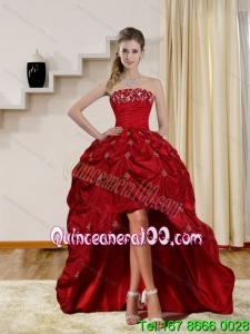2015 Pretty Strapless Red Cheap Dama Dresses with Embroidery and Pick Ups