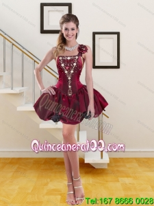 2015 Spring Wine Red One Shoulder Cheap Dama Dresses with Beading