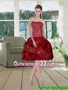 Wine Red Pretty Strapless 2015 Cheap Dama Dresses with Embroidery