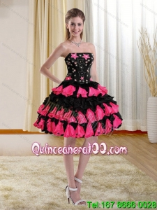 Cheap Ball Gown Pink and Black Strapless Dama Dresses with Appliques and Ruffles